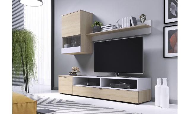 Menší obývací stěna Star, sonoma/bílá