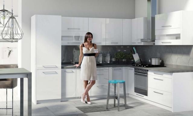 Rohová kuchyně Capito, 270x210cm, bílý lesk