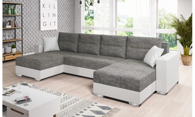 Moderní sedací souprava tvaru U Murcia, bílá/šedá