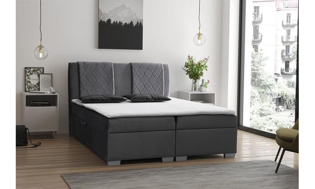Moderní box spring postel Colombo 180x200, šedá