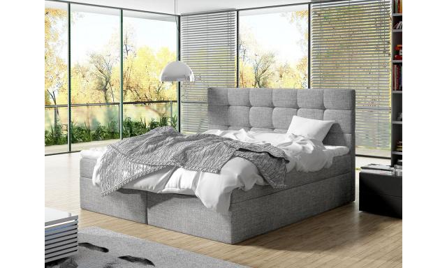 Moderní box spring postel Lipari 180x200, šedá