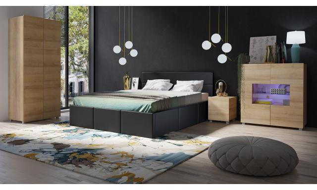 Moderní postel z eko-kůže Celeste, černá