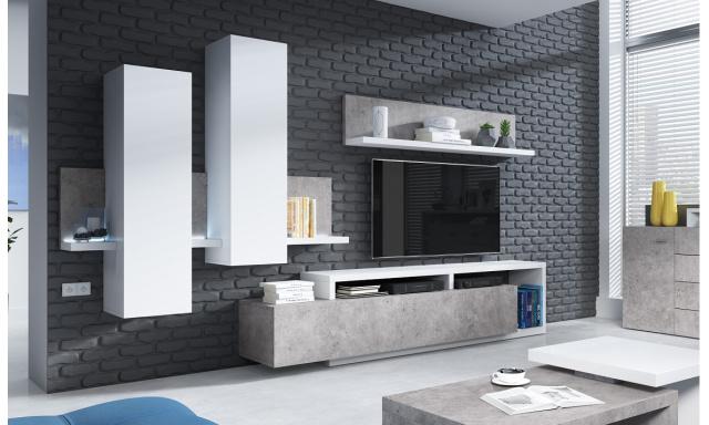 Designová obývací stěna Bigla, bílá/beton + LED