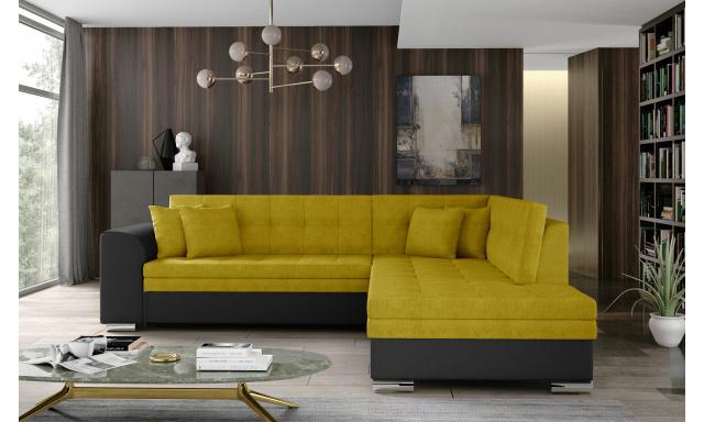 Moderní rohová sedačka Presta, černá/žlutá