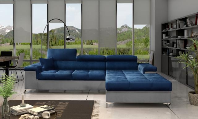 Moderní rohová sedačka Relina, šedá/modrá Monolith