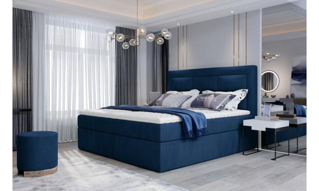 Kvalitní box spring postel Vanity 180x200, modrá Monolith