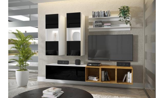 Moderní bytový nábytek Premio D, bílá/černý lesk