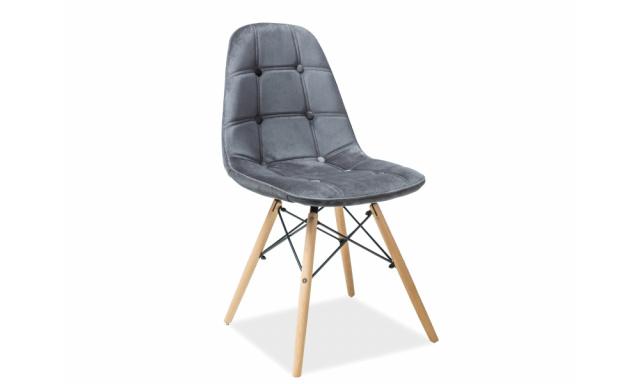 Designová jídelní židle Alexis, šedá látka