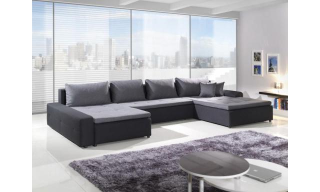 Luxusní sedačka tvaru U Rando, černá/šedá
