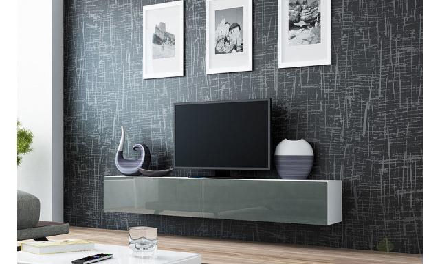 Moderní televizní stolek Igore 180, bílá/šedý lesk