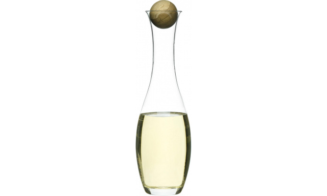 Karafa s dřevěnou kuličkou SAGAFORM Oval Oak, bílé víno, 1L