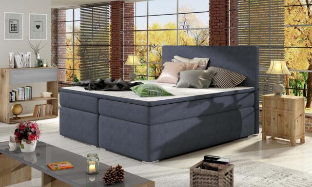 Moderní box spring postel Dive 180x200, modrá