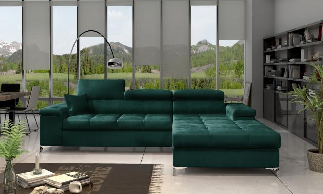 Moderní rohová sedačka Relina, zelená Monolith