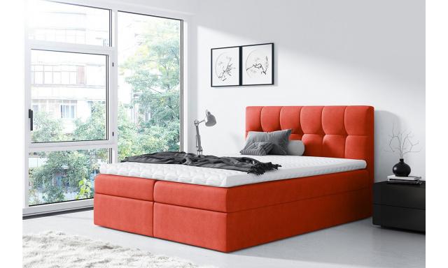 Moderní box spring postel Rapid 200x200, oranžová