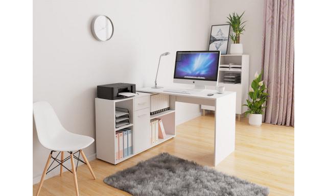 Rohový PC stůl Ariel, bílý