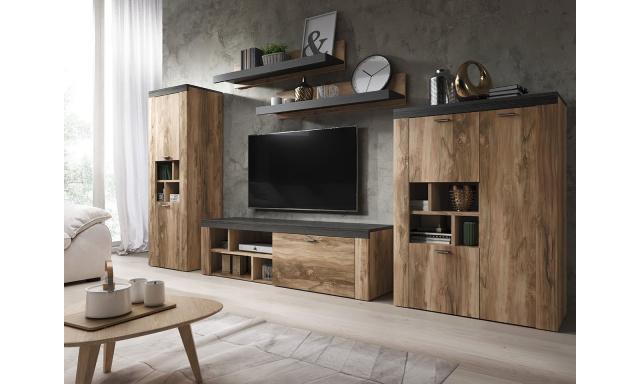 Designová obývací stěna Amelie, ořech/touchwood