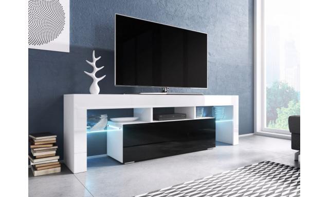 Moderní TV stolek Targa 138cm, bílá/černý lesk