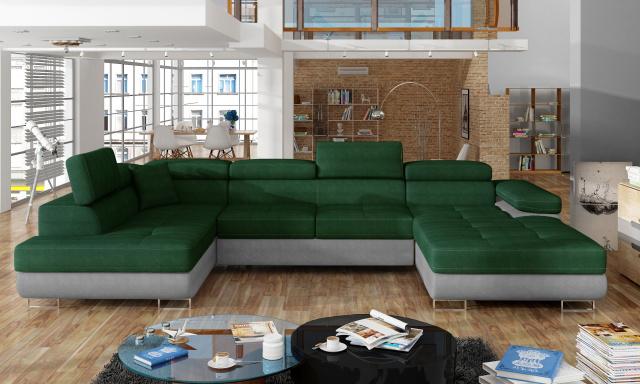Rohová sedačka ve tvaru U Ramon, šedá/zelená