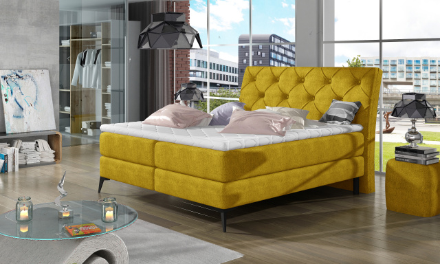 Stylová box spring postel Lenny 180x200, žlutá