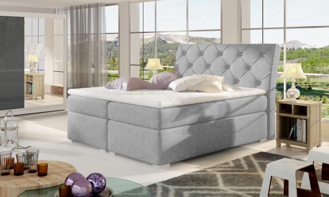 Moderní box spring postel Bralin 180x200, šedá