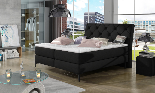 Stylová box spring postel Lenny 180x200, černá