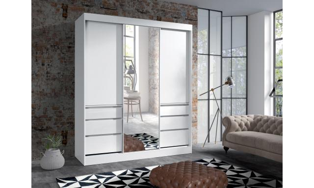 Šatní skřín Hermína 180cm se zrcadlem, bílá