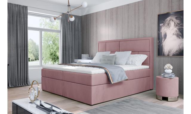 Kvalitní box spring postel Meredit 180x200, růžová Velvet
