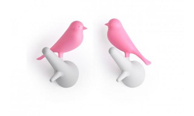 Nástěnný věšák QUALY Hook Sparrow, 2ks, bílý-růžový