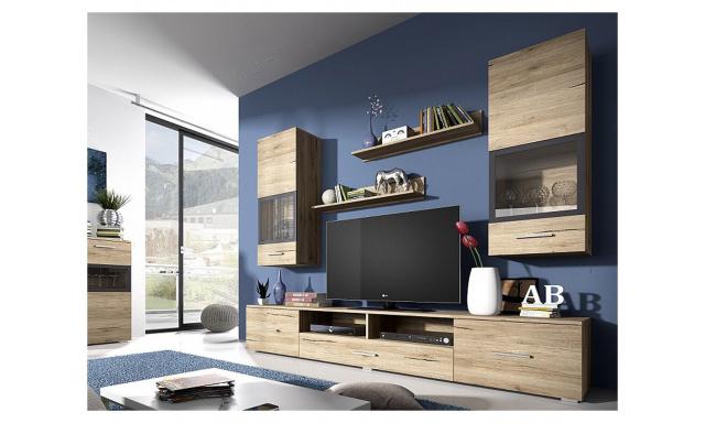 Moderní obývací stěna Sára, dub san remo