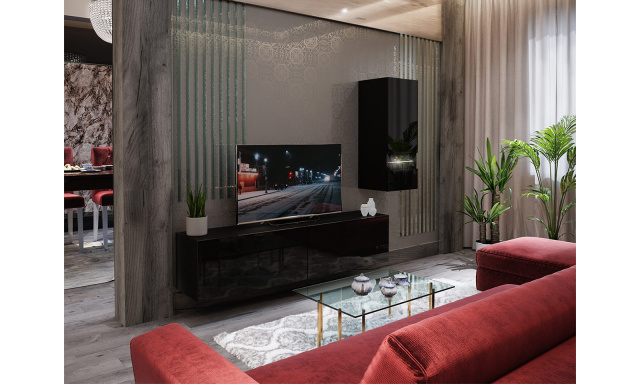 Moderní obývací stěna Bonny 15, černá/černý lesk