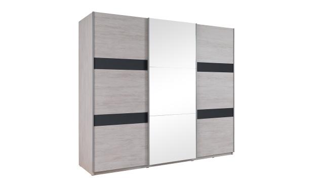 Šatní skřín Drake SZ250, dub bílý/grafit lesk