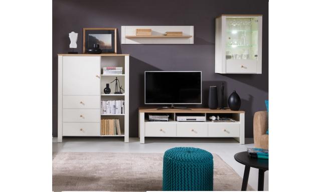 Moderní bytový nábytek Bremen sestava D, dub zlatý/krém