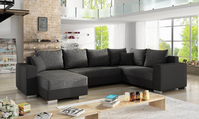 Moderní sedačka tvaru U Marate, černá/šedá