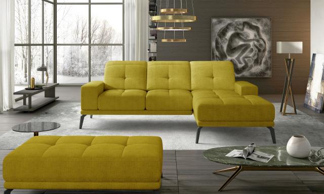 Designová rohová sedačka Tiscali, žlutá žinilka Omega