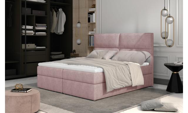 Prodloužená box spring postel Adam 210x185cm, růžová