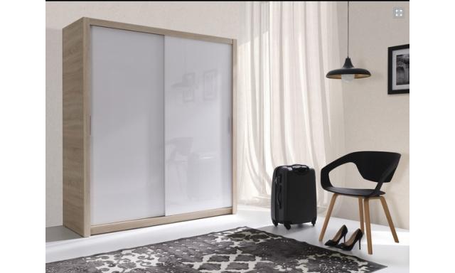 Moderní šatní skřín Ralf 180, sonoma/bílý lesk