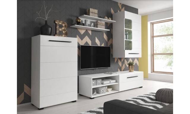 Moderní obývací stěna Belima, bílá + LED