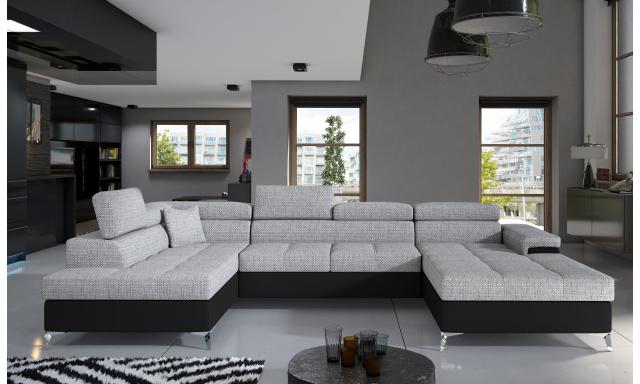 Rohová sedačka ve tvaru U Esperanza, černá/šedá