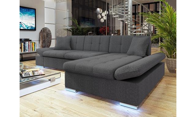 Moderní rohová sedačka Vaduz s LED osvětlením, šedá