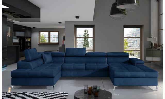Rohová sedačka ve tvaru U Esperanza, modrá Monolith