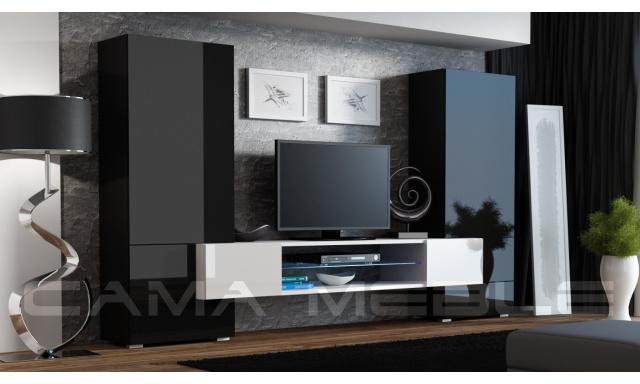 Moderní obývací stěna Diego, černá s bílým TV stolkem