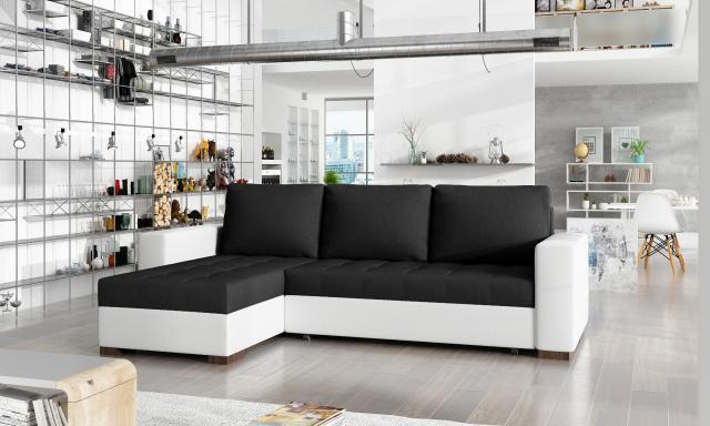 Menší rohová sedačka Natal, bílá/černá