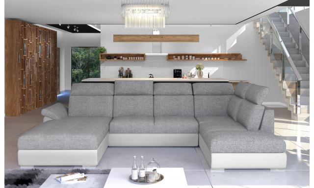 Rohová sedačka ve tvaru U Estonia, bílá/šedá