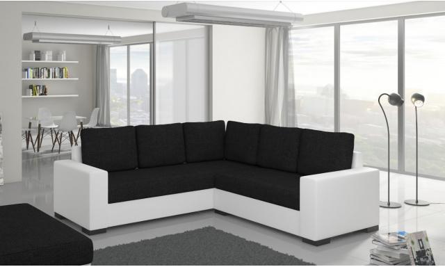 Moderní rohová sedačka Castel, bílá/černá