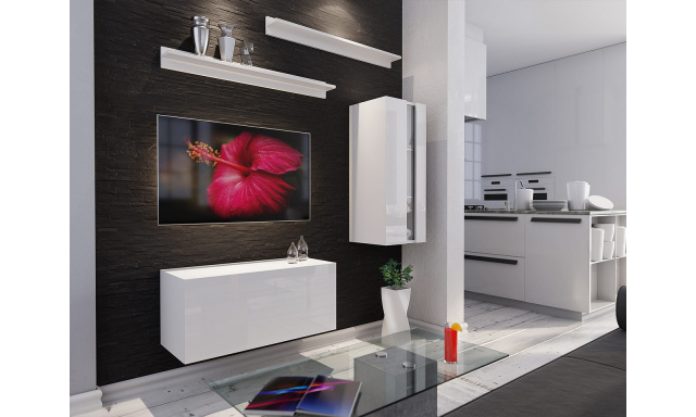 Moderní obývací stěna Bonny 11, bílá/bílý lesk