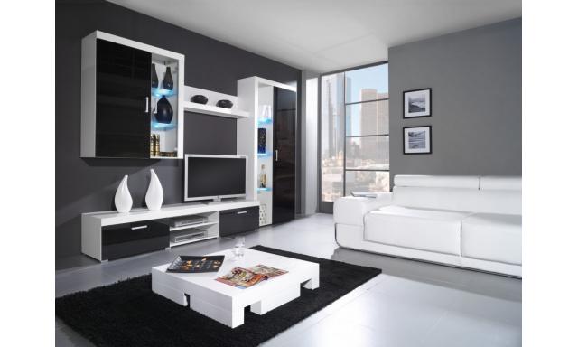 Moderní obývací stěna Speciale, bílá/černý lesk