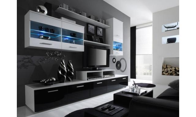 Obývací stěna Ogol II A, bílá/černá, vysoký lesk