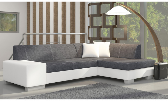 Moderní rohová sedačka Filip, bílá/šedá