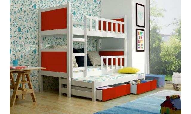 Dětská  postel pro 3 děti Paris, bílá/červená + MATRACE