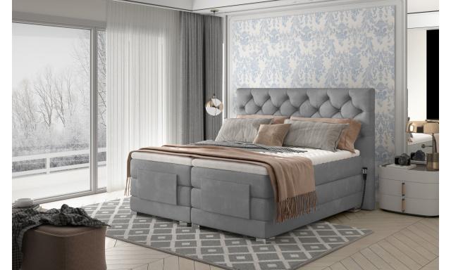 Box spring postel Clif 180x200, šedá, elektrické polohování